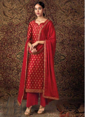Lace Work Jam Silk Pant Style Pakistani Suit