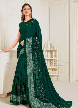 Lace Work Lycra Traditional Designer Saree