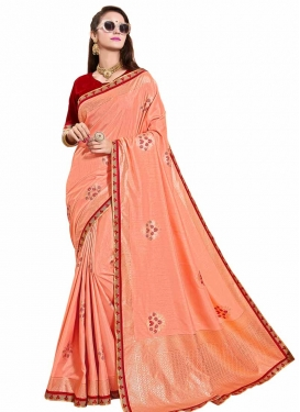 Lace Work Maroon and Peach Designer Contemporary Style Saree
