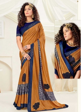 Lace Work Mustard and Navy Blue Designer Contemporary Saree