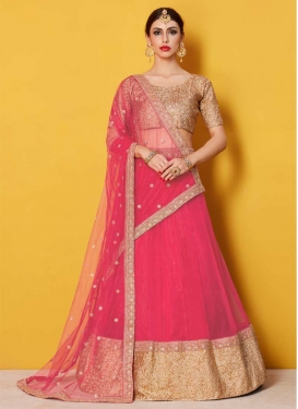 Lace Work Net A Line Lehenga Choli
