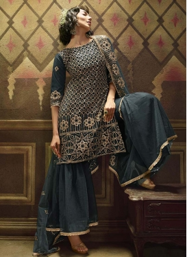 Lace Work Net Sharara Salwar Suit