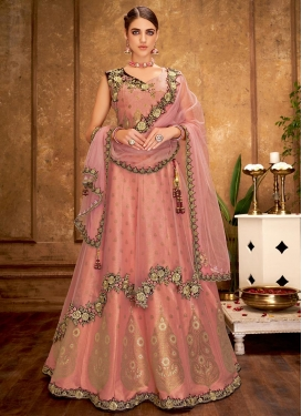Lace Work Net Trendy A Line Lehenga Choli