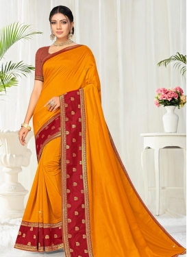 Lace Work Orange and Red Designer Contemporary Style Saree