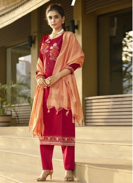 Lace Work Pant Style Classic Salwar Suit For Casual