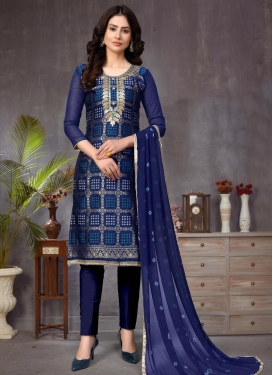 Lace Work Pant Style Straight Salwar Suit