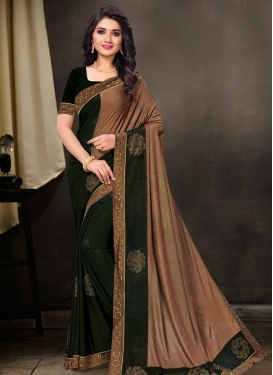 Lace Work Poly Silk Half N Half Trendy Saree