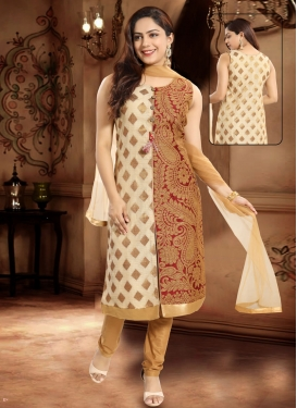 Lace Work Readymade Churidar Salwar Kameez