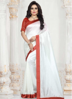 Lace Work Red and White Classic Saree