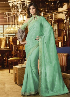 Lace Work Shilpa Shetty Faux Chiffon Designer Contemporary Style Saree