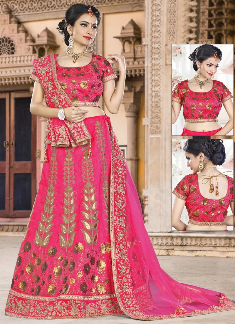 Lace Work Silk A Line Lehenga Choli