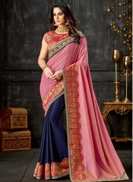 Lace Work Silk Half N Half Designer Saree