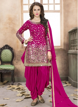 Lace Work Tafeta Silk Designer Semi Patiala Salwar Suit