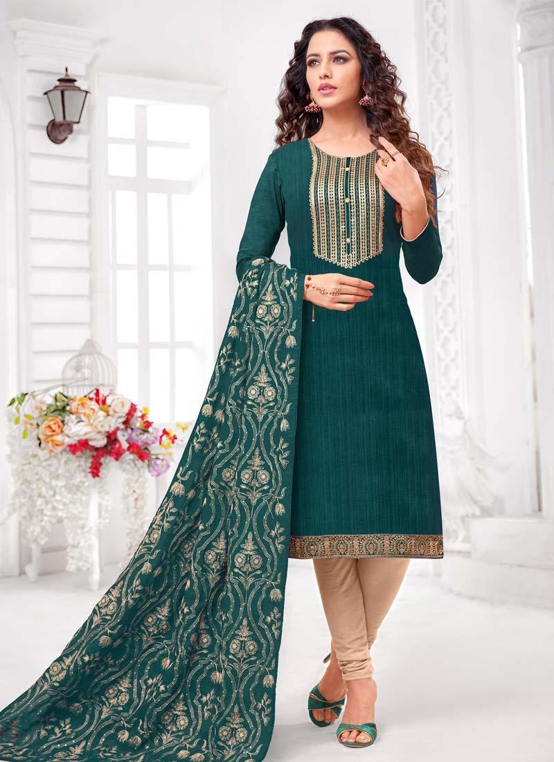 Lace Work Trendy Churidar Salwar Kameez