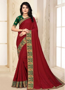Lace Work Vichitra Silk Designer Contemporary Saree