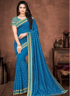 Lace Work Vichitra Silk Designer Traditional Saree For Casual