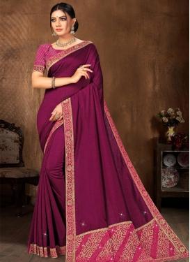 Lace Work Vichitra Silk Purple and Rose Pink Trendy Classic Saree