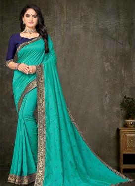 Lace Work Vichitra Silk Traditional Designer Saree