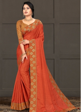 Lace Work Vichitra Silk Trendy Classic Saree
