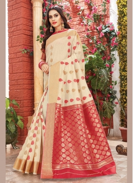 Latest Art Silk Cream Trendy Saree