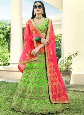 Lehenga Choli Lace Art Silk in Mint Green