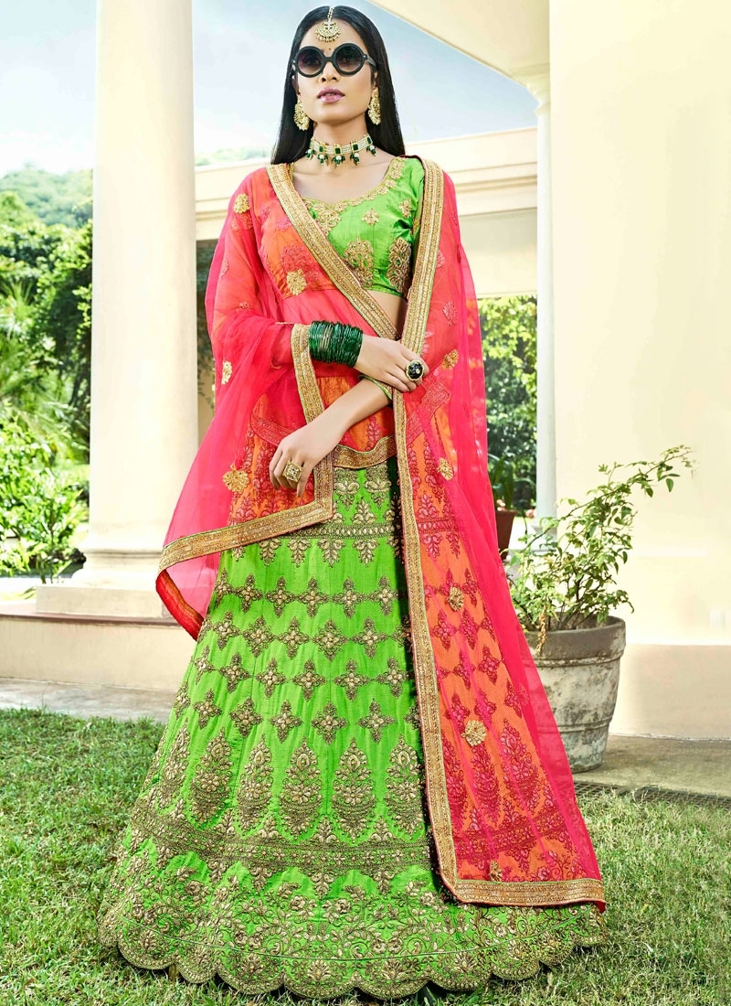 Lehenga Choli Lace Art Silk in Mint Green