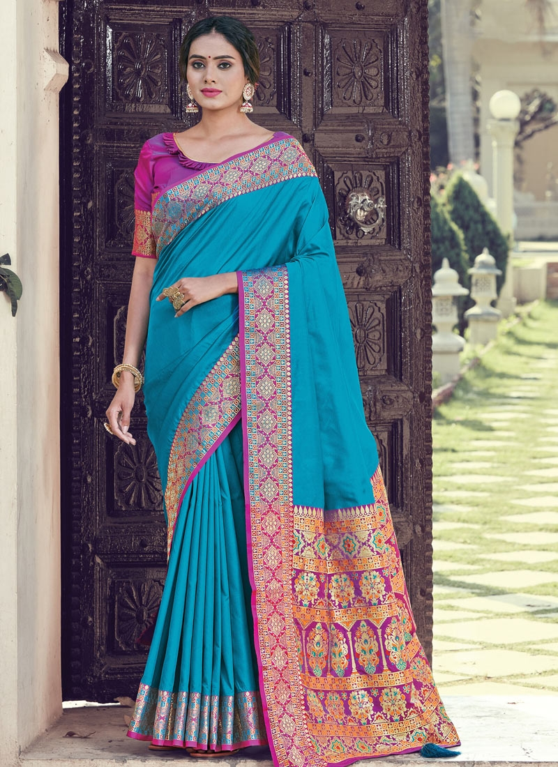 Light Blue and Magenta Designer Contemporary Style Saree