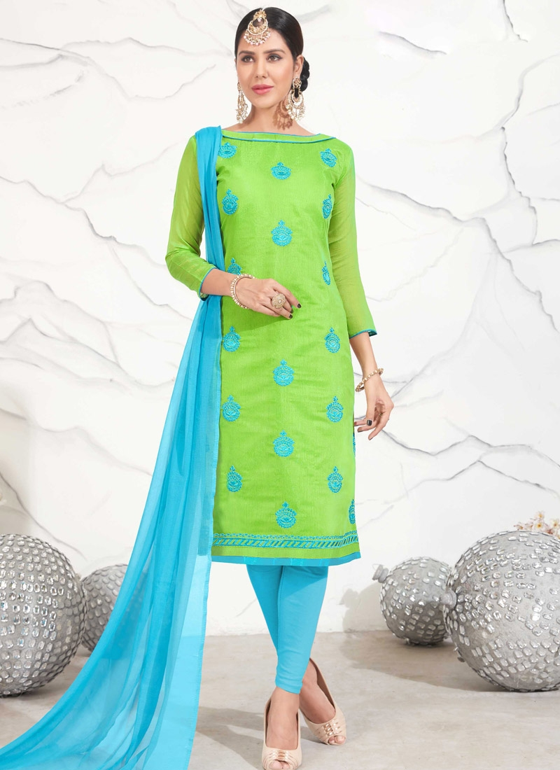 Light Blue and Mint Green Chanderi Cotton Trendy Churidar Salwar Kameez