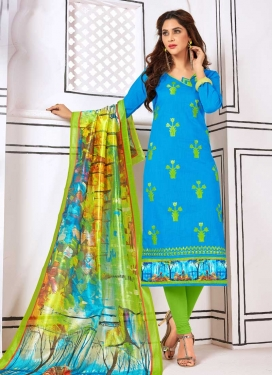 Light Blue and Mint Green Cotton Trendy Churidar Salwar Kameez
