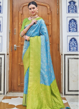 Light Blue and Mint Green Designer Contemporary Saree For Ceremonial
