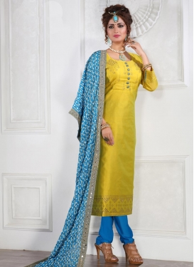 Light Blue and Mustard Readymade Churidar Suit For Ceremonial