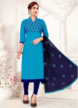 Light Blue and Navy Blue Cotton Trendy Churidar Salwar Suit