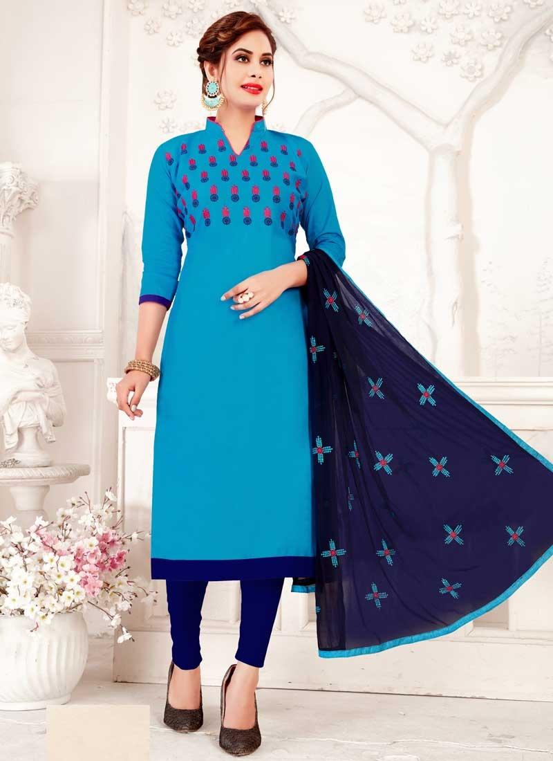 Light Blue and Navy Blue Cotton Trendy Churidar Salwar Suit