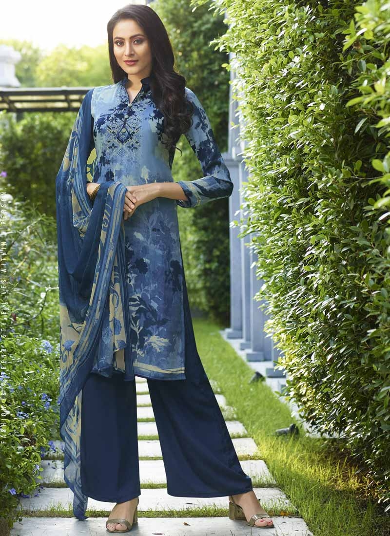 Light Blue and Navy Blue Crepe Silk Palazzo Straight Salwar Suit For Festival