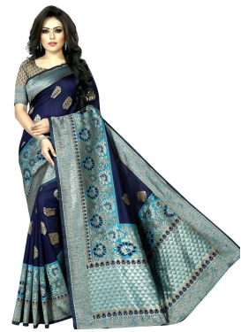 Light Blue and Navy Blue Designer Contemporary Saree