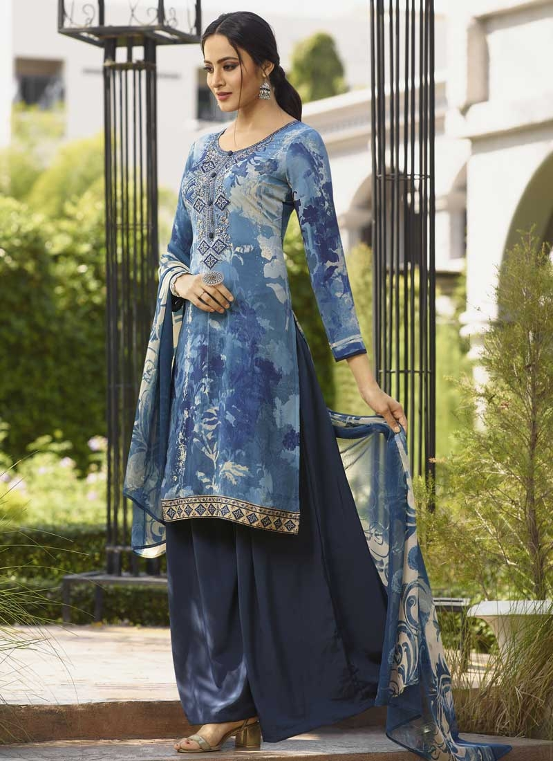Light Blue and Navy Blue Digital Print Work Palazzo Style Pakistani Salwar Kameez
