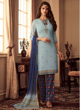 Light Blue and Navy Blue Embroidered Work Pant Style Classic Salwar Suit