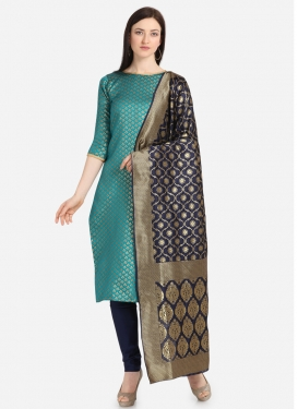 Light Blue and Navy Blue Jacquard Churidar Salwar Kameez