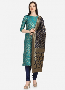 Light Blue and Navy Blue Jacquard Trendy Churidar Salwar Kameez