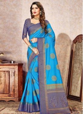 Light Blue and Navy Blue Nylon Silk Designer Contemporary Saree
