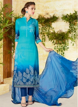 Light Blue and Navy Blue Pant Style Pakistani Salwar Kameez