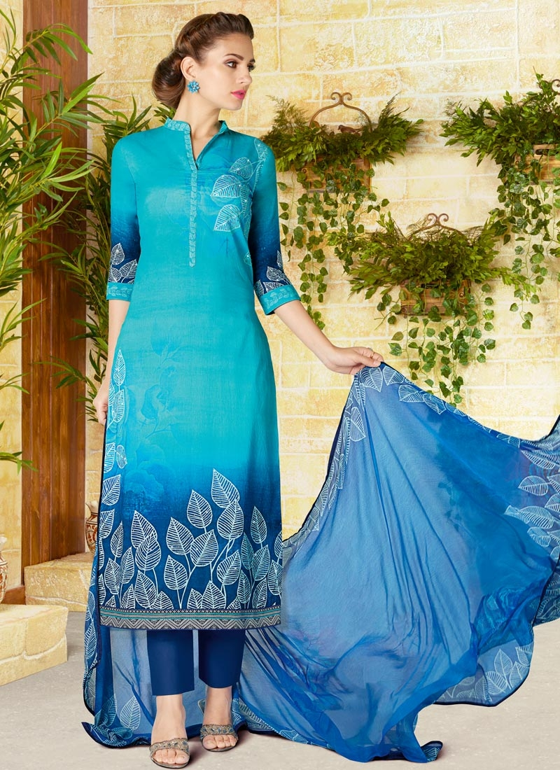 Light Blue and Navy Blue Pant Style Pakistani Salwar Kameez