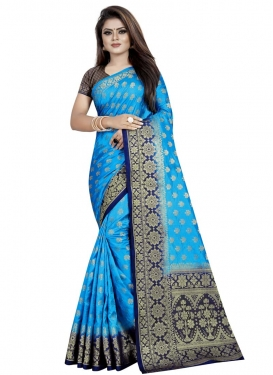 Light Blue and Navy Blue Thread Work Traditional Saree