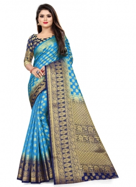 Light Blue and Navy Blue Trendy Classic Saree For Casual