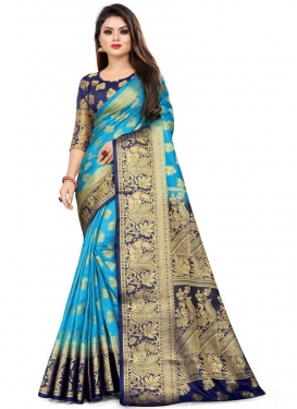 Light Blue and Navy Blue Woven Work Contemporary Style Saree