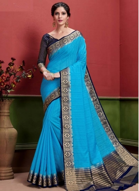 Light Blue and Navy Blue Woven Work Designer Contemporary Saree