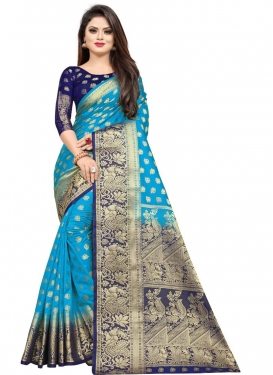 Light Blue and Navy Blue Woven Work Designer Contemporary Style Saree