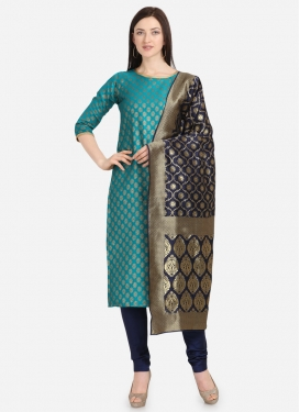 Light Blue and Navy Blue Woven Work Trendy Churidar Salwar Suit