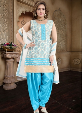 Light Blue and Off White Readymade Salwar Suit