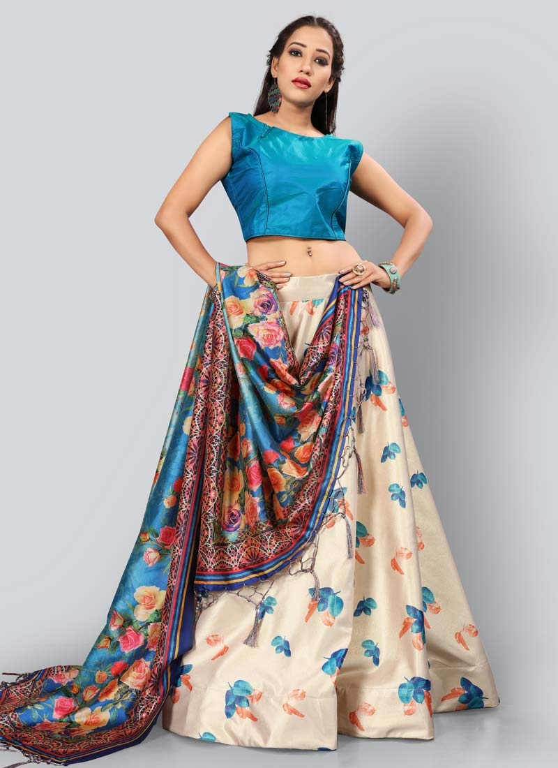 Light Blue and Off White Trendy A Line Lehenga Choli For Ceremonial